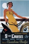 Vintage Travel Poster 9 Day Cruises Canadian Pacific